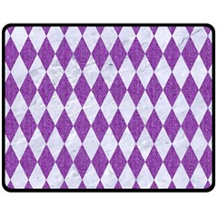 Diamond1 White Marble & Purple Denim Double Sided Fleece Blanket (medium)