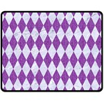 DIAMOND1 WHITE MARBLE & PURPLE DENIM Double Sided Fleece Blanket (Medium)  58.8 x47.4 Blanket Back