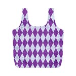 DIAMOND1 WHITE MARBLE & PURPLE DENIM Full Print Recycle Bags (M)  Back