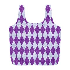 Diamond1 White Marble & Purple Denim Full Print Recycle Bags (l)