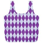 DIAMOND1 WHITE MARBLE & PURPLE DENIM Full Print Recycle Bags (L)  Front