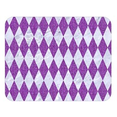 Diamond1 White Marble & Purple Denim Double Sided Flano Blanket (large)  by trendistuff