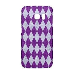 Diamond1 White Marble & Purple Denim Galaxy S6 Edge