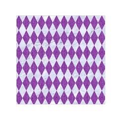 Diamond1 White Marble & Purple Denim Small Satin Scarf (square)