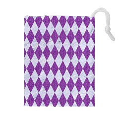 Diamond1 White Marble & Purple Denim Drawstring Pouches (extra Large)