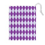 DIAMOND1 WHITE MARBLE & PURPLE DENIM Drawstring Pouches (Extra Large) Front