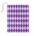 DIAMOND1 WHITE MARBLE & PURPLE DENIM Drawstring Pouches (Extra Large) Back