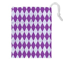 Diamond1 White Marble & Purple Denim Drawstring Pouches (xxl)