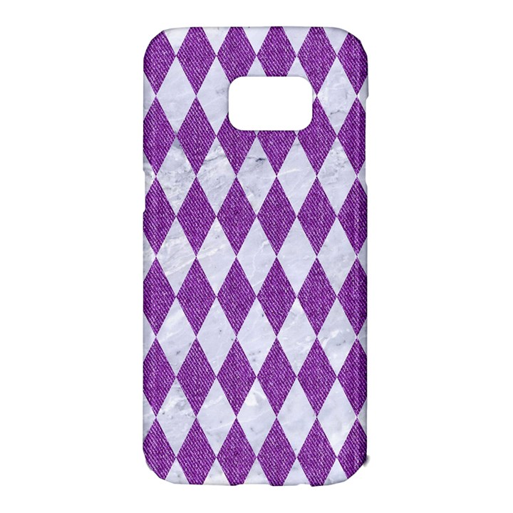 DIAMOND1 WHITE MARBLE & PURPLE DENIM Samsung Galaxy S7 Edge Hardshell Case