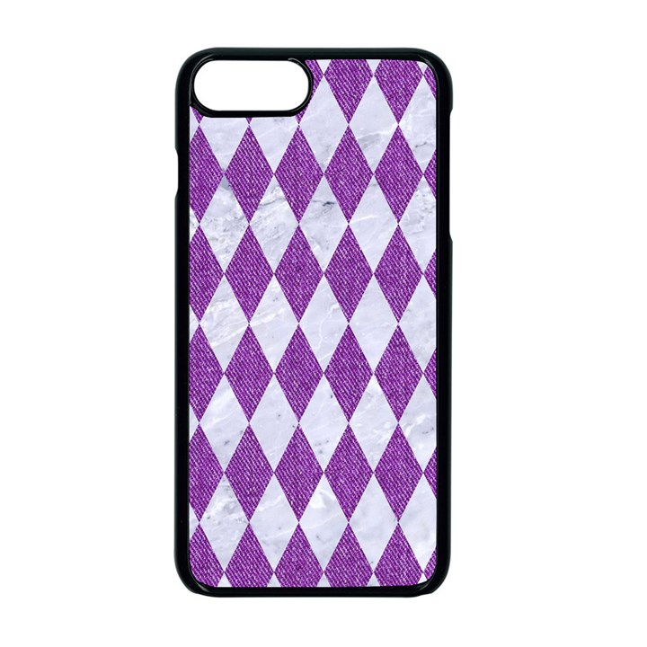 DIAMOND1 WHITE MARBLE & PURPLE DENIM Apple iPhone 8 Plus Seamless Case (Black)