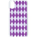 DIAMOND1 WHITE MARBLE & PURPLE DENIM Apple iPhone X Seamless Case (White) Front