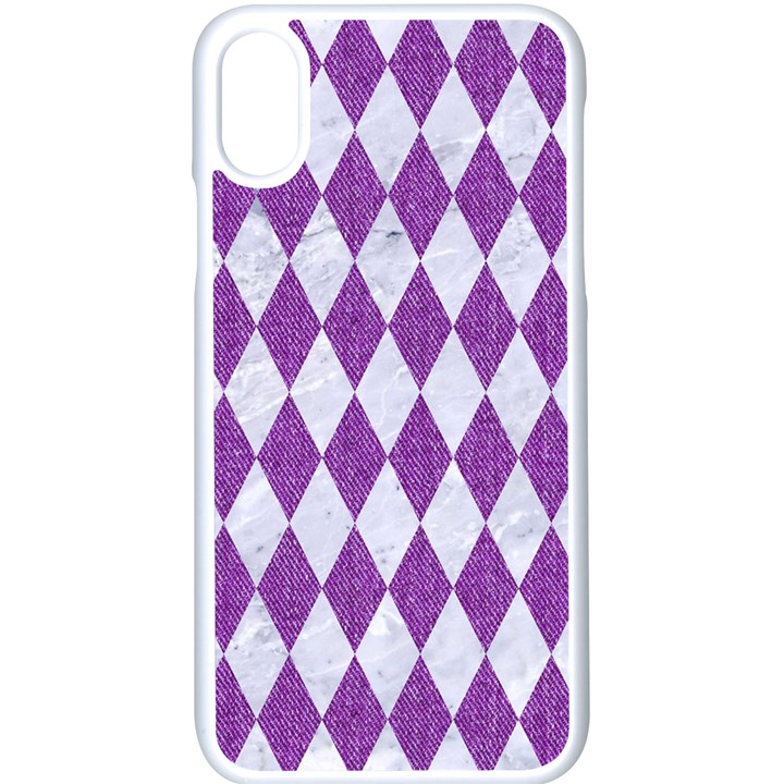 DIAMOND1 WHITE MARBLE & PURPLE DENIM Apple iPhone X Seamless Case (White)