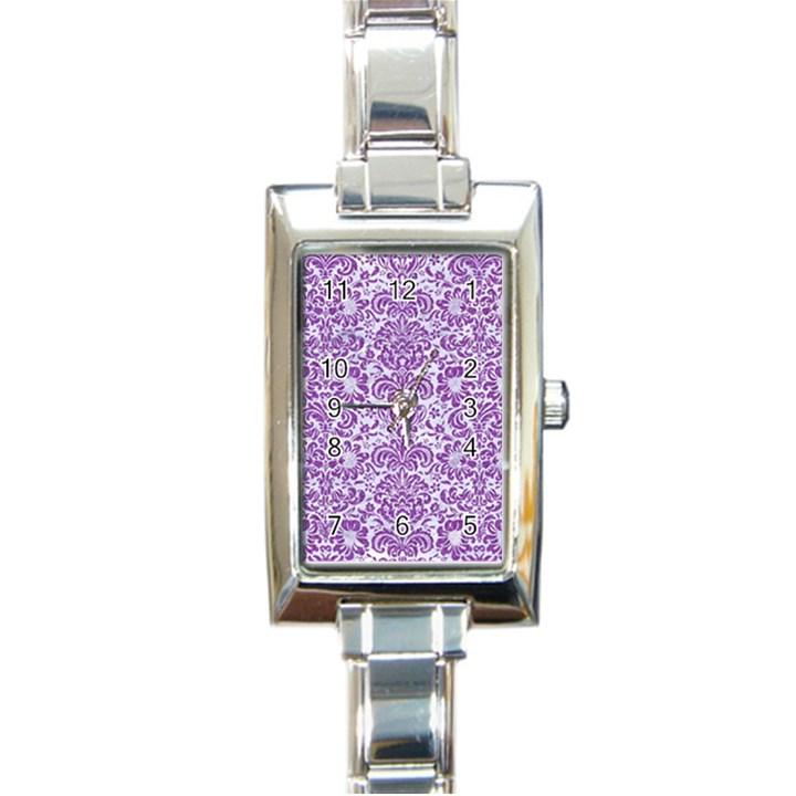 DAMASK2 WHITE MARBLE & PURPLE DENIM (R) Rectangle Italian Charm Watch