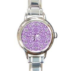 Damask2 White Marble & Purple Denim (r) Round Italian Charm Watch by trendistuff