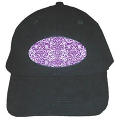 Damask2 White Marble & Purple Denim (r) Black Cap
