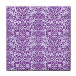 DAMASK2 WHITE MARBLE & PURPLE DENIM (R) Tile Coasters Front