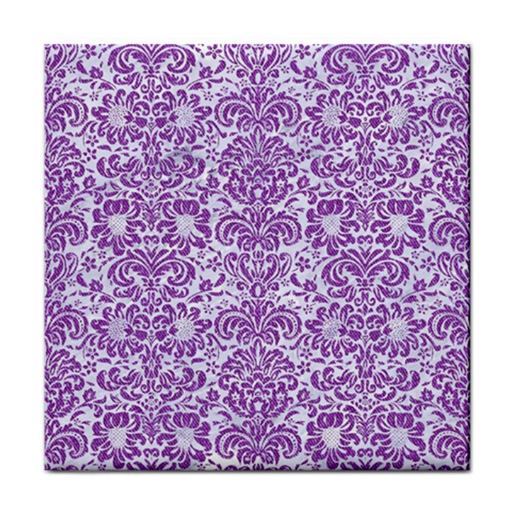 DAMASK2 WHITE MARBLE & PURPLE DENIM (R) Tile Coasters