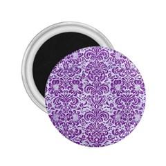 Damask2 White Marble & Purple Denim (r) 2 25  Magnets