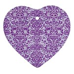 DAMASK2 WHITE MARBLE & PURPLE DENIM (R) Ornament (Heart) Front