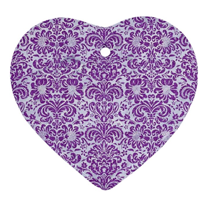 DAMASK2 WHITE MARBLE & PURPLE DENIM (R) Ornament (Heart)