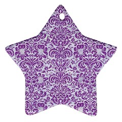 Damask2 White Marble & Purple Denim (r) Ornament (star) by trendistuff