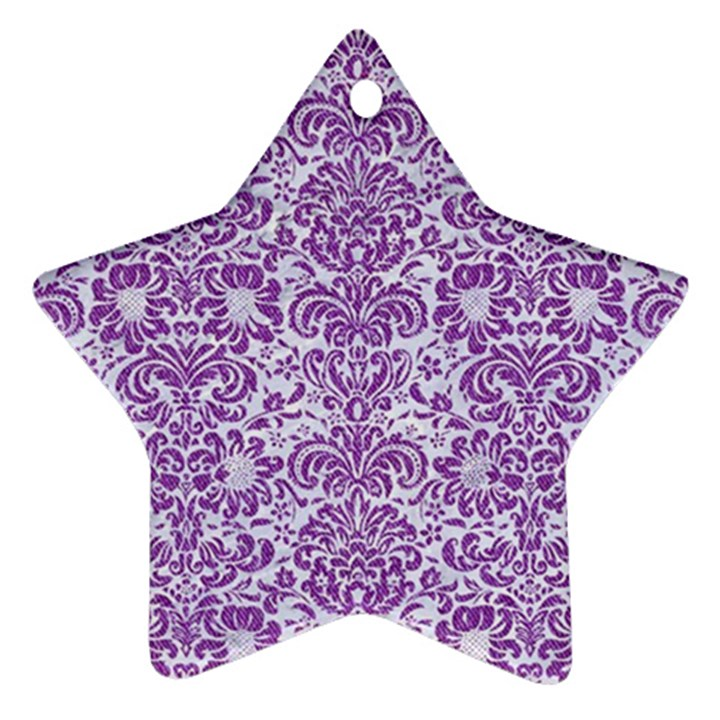 DAMASK2 WHITE MARBLE & PURPLE DENIM (R) Ornament (Star)