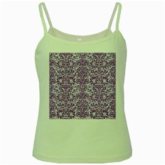 Damask2 White Marble & Purple Denim (r) Green Spaghetti Tank