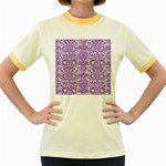 DAMASK2 WHITE MARBLE & PURPLE DENIM (R) Women s Fitted Ringer T-Shirts Front