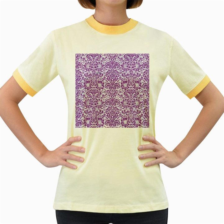 DAMASK2 WHITE MARBLE & PURPLE DENIM (R) Women s Fitted Ringer T-Shirts