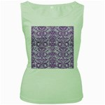 DAMASK2 WHITE MARBLE & PURPLE DENIM (R) Women s Green Tank Top Front