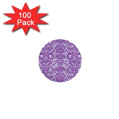 Damask2 White Marble & Purple Denim (r) 1  Mini Buttons (100 Pack)