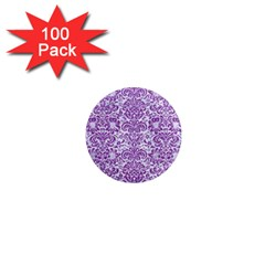 Damask2 White Marble & Purple Denim (r) 1  Mini Magnets (100 Pack)