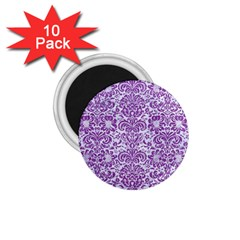 Damask2 White Marble & Purple Denim (r) 1 75  Magnets (10 Pack)