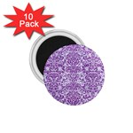 DAMASK2 WHITE MARBLE & PURPLE DENIM (R) 1.75  Magnets (10 pack)  Front