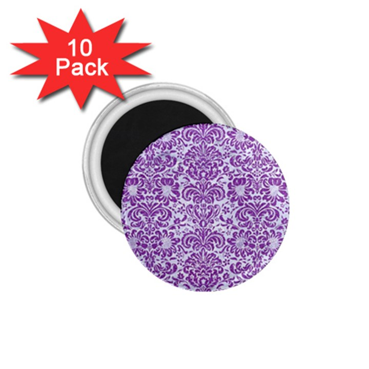 DAMASK2 WHITE MARBLE & PURPLE DENIM (R) 1.75  Magnets (10 pack)