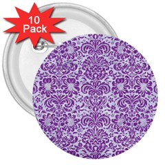 Damask2 White Marble & Purple Denim (r) 3  Buttons (10 Pack)
