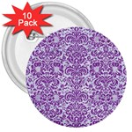 DAMASK2 WHITE MARBLE & PURPLE DENIM (R) 3  Buttons (10 pack)  Front