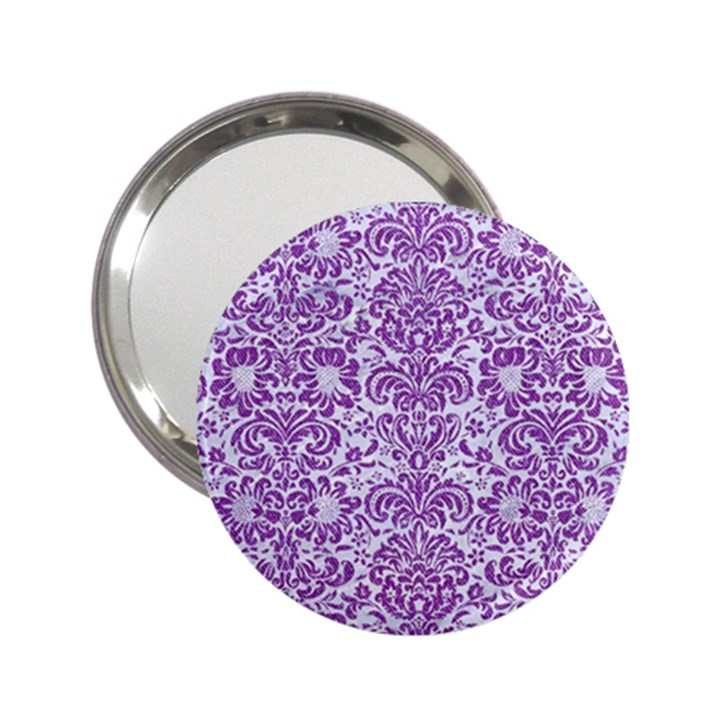 DAMASK2 WHITE MARBLE & PURPLE DENIM (R) 2.25  Handbag Mirrors