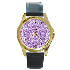 Damask2 White Marble & Purple Denim (r) Round Gold Metal Watch by trendistuff