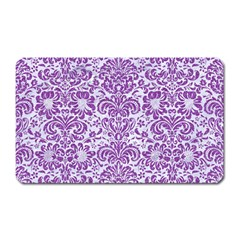 Damask2 White Marble & Purple Denim (r) Magnet (rectangular) by trendistuff