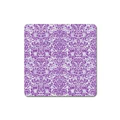 Damask2 White Marble & Purple Denim (r) Square Magnet by trendistuff
