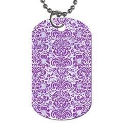 Damask2 White Marble & Purple Denim (r) Dog Tag (one Side)