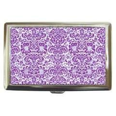 Damask2 White Marble & Purple Denim (r) Cigarette Money Cases