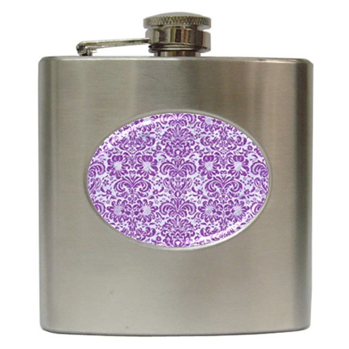 DAMASK2 WHITE MARBLE & PURPLE DENIM (R) Hip Flask (6 oz)