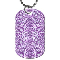 Damask2 White Marble & Purple Denim (r) Dog Tag (two Sides) by trendistuff