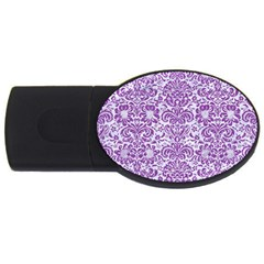 Damask2 White Marble & Purple Denim (r) Usb Flash Drive Oval (2 Gb)