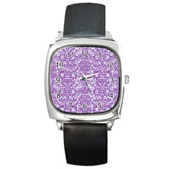 Damask2 White Marble & Purple Denim (r) Square Metal Watch by trendistuff