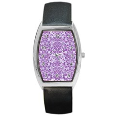 Damask2 White Marble & Purple Denim (r) Barrel Style Metal Watch
