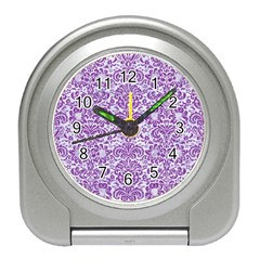 Damask2 White Marble & Purple Denim (r) Travel Alarm Clocks by trendistuff
