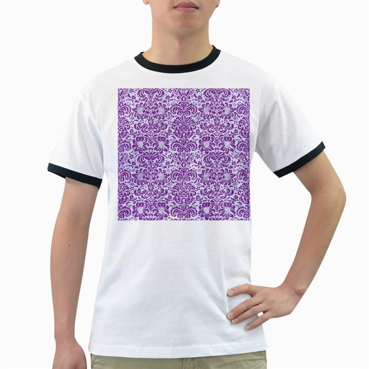 DAMASK2 WHITE MARBLE & PURPLE DENIM (R) Ringer T-Shirts